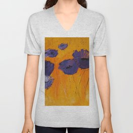 Purple Poppies Unisex V-Neck