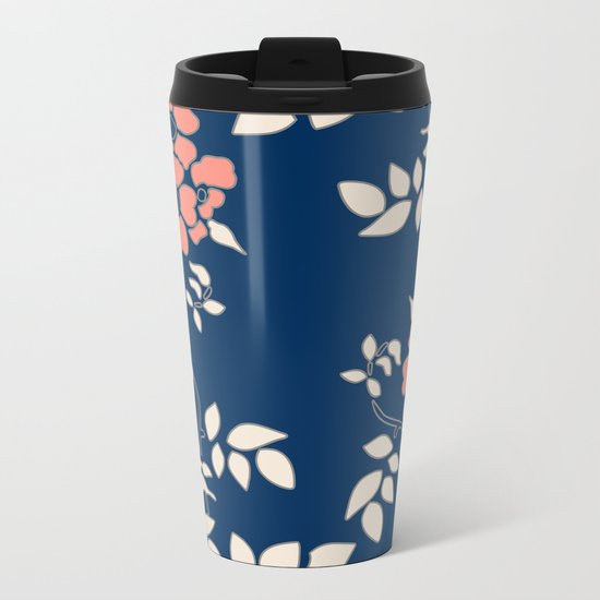 FLORAL IN BLUE AND CORAL Metal Travel Mug