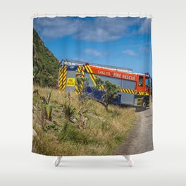 Fire Engine On The Coast Shower Curtain