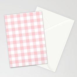 Large Valentine Soft Blush Pink and White Buffalo Check Plaid Stationery Cards