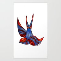 swallow Art Prints featuring Swallow by mclairelxs