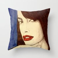 aaliyah Throw Pillows featuring Aaliyah by DeMoose_Art