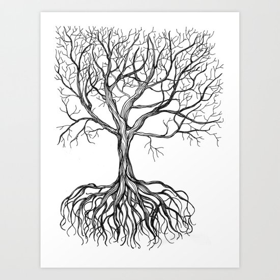Bare tree with root Art Print