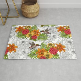 Hummingbirds and tropical bouquet Rug
