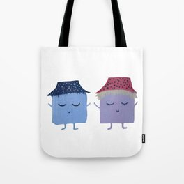 MyHappySquare couple with cute hats Tote Bag