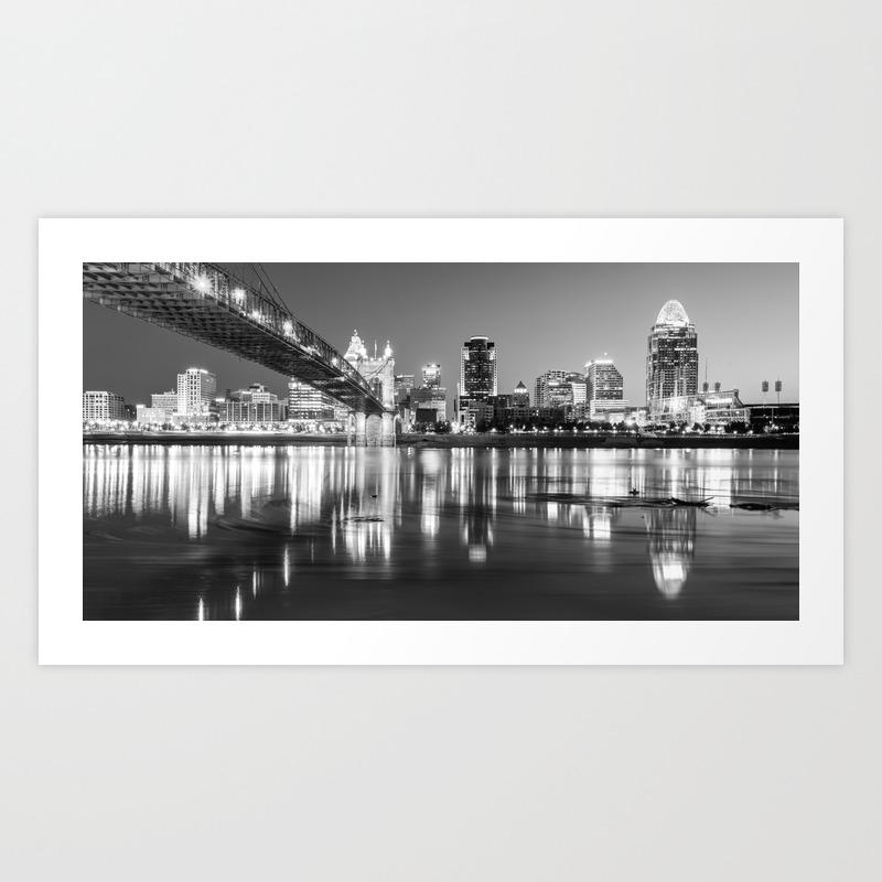 Panoramic view of cincinnati ohio black and white city skyline art print
