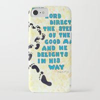 bible verse iPhone & iPod Cases featuring Psalm 37:23 Bible verse Poster  by ArtistAdron
