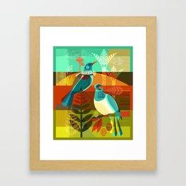 tui and kereru Framed Art Print