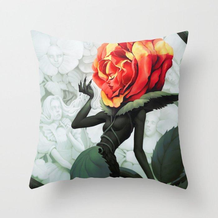 Alice in Wonderland Rose Throw Pillow
