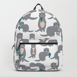 I Love You Mom. Funny grey kids otters with fish. Gift card for Mothers Day. Backpack