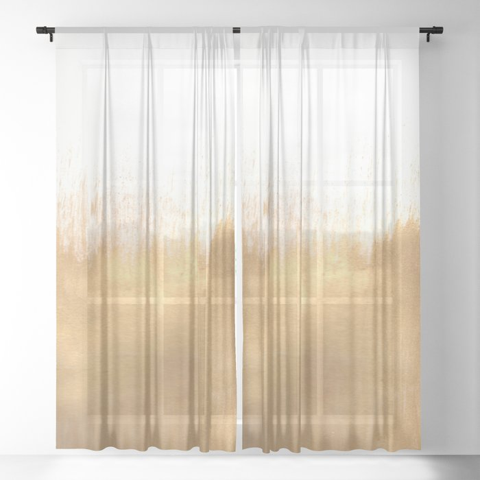 brushed-gold-sheer-curtain by society6