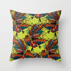 rooster ink chartreuse Throw Pillow