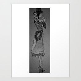 Fashion Sketch 5. Lady in B&W. Art Print