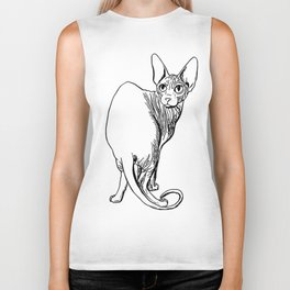 Sphynx Cat Illustration - Sphynx - Cat Drawing - Naked Cat - Wrinkly Cat - Black and White Biker Tank