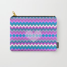 Winter chevron in teal and pink cozy heart Carry-All Pouch