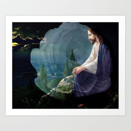 Jesus Christ On Mount Olive With White Rose By Annie Zeno Art Print