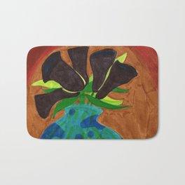 Black Calla Lilies in Blue Vase Bath Mat