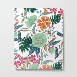 Minty + Rust Floral Metal Print