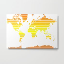 World Map - Colorful stripes - Yellow and Orange Metal Print