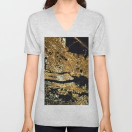 Space Station View of New York City at Night Photograph Unisex V-Neck