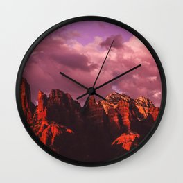 Rose Colored Landscape Wall Clock