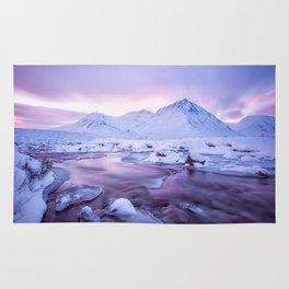Freezing Mountain Lake Landscape Rug
