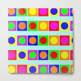 Bright Geometric Pattern 1 - Circles And Squares Metal Print
