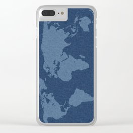 Denim Map Clear iPhone Case