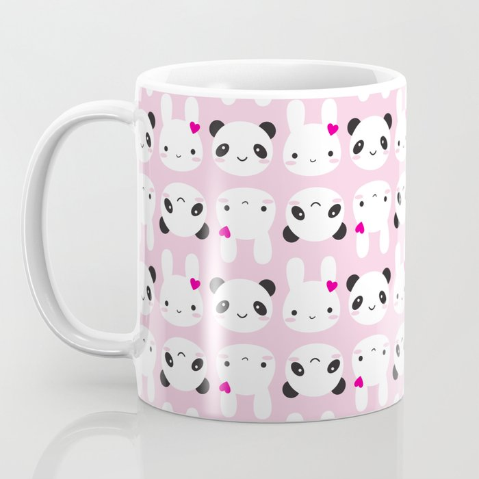 Super Cute Kawaii Bunny and Panda (Pink) Coffee Mug