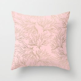 Elegant blush pink faux gold floral leaves Throw Pillow