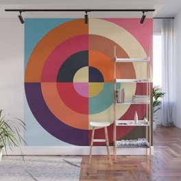 Autumn - Colorful Classic Abstract Minimal Retro 70s Style Graphic Design Wall Mural
