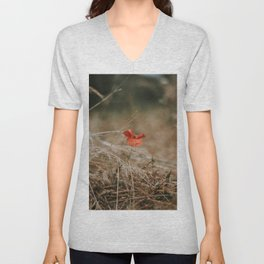 Single Poppy Unisex V-Neck