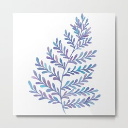 Fern Leaf - Blue Palette Metal Print