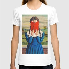 Into Her Book young female portrait painting by Brenda Beerhorst T-shirt