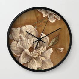 Magnolia on Wood Wall Clock