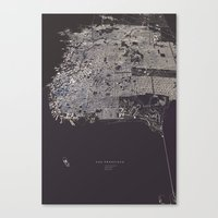san francisco map Canvas Prints featuring San Francisco City Map by maptastix