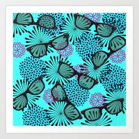 sunglasses Art Prints featuring Sunglasses by Mad And Zo Designs