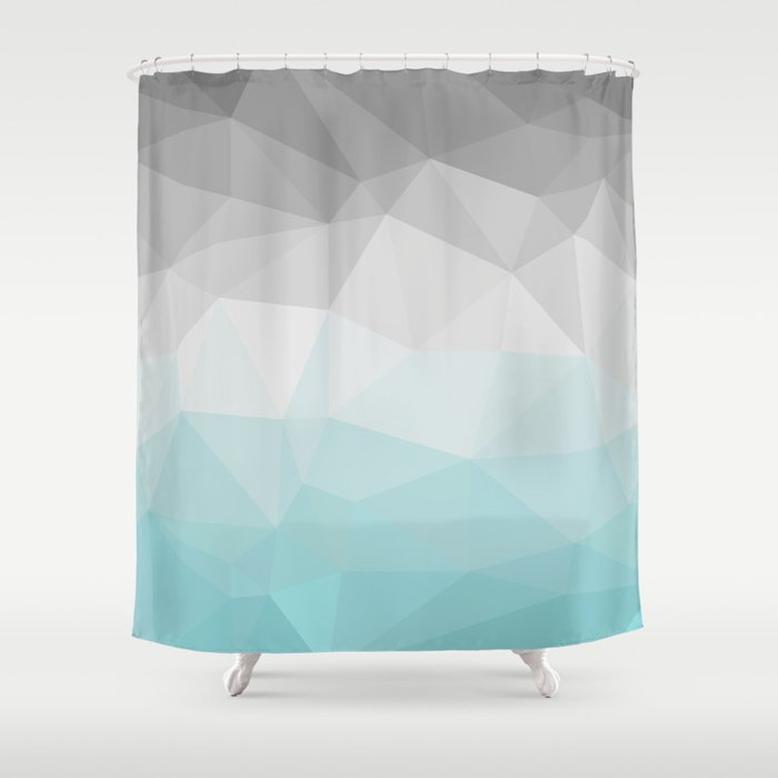 Light Blue And Grey Polygon Shower Curtain