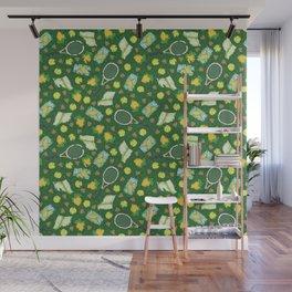 Yellow lemon and ball among tennis rackets and strawberries Wall Mural
