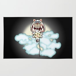 Funny Scared White Cat Balloon With Glasses Rug
