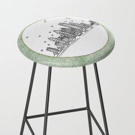 Philadelphia, Pennsylvania City Skyline Illustration Drawing Bar Stool