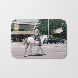 Horse Riding on South Congress Ave Bath Mat