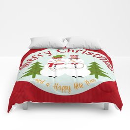 Merry Christmas and a Happy New Year Snowman Couple Comforters