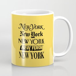 New York City Yellow Taxi and Black Typography Poster NYC Coffee Mug