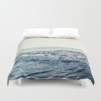 pacific rim Duvet Covers featuring Pacific Ocean by Leah Flores
