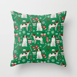 Brittany Spaniel christmas pattern dog breed presents stockings candy canes Throw Pillow