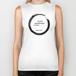 Zen Smile & Heart Quote Biker Tank