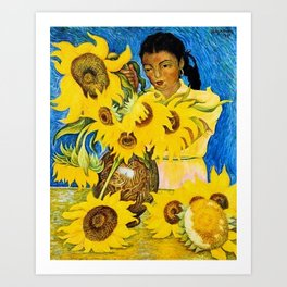 Girl with Sunflowers portrait painting by Diego Rivera Art Print