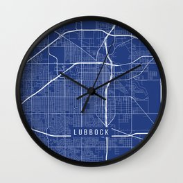 Lubbock Map, USA - Blue Wall Clock