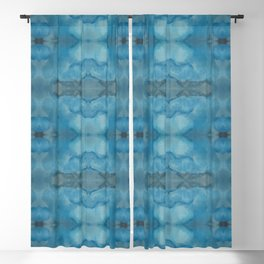 Shades of Blue Mirrored Watercolor Blackout Curtain